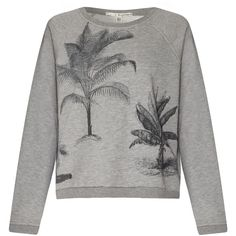Uttam Boutique Palm tree print sweat top (33 CAD) ❤ liked on Polyvore featuring tops, hoodies, sweatshirts, grey, clearance, gray sweatshirt, grey sweatshirt, grey top, palm tree sweatshirt and uttam boutique