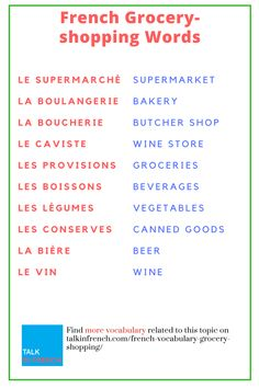 At The Supermarket: 112 Useful French Vocabulary for Grocery Shopping Learn about French words you'll encounter when buying groceries. Basic French Words, French Phrases, How To Speak French, French Verbs, French Quotes, French Expressions, French Basics, French For Beginners, Learn French Beginner