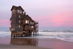 "The famous house ""Serendipity"" from the movie Nights in Rodanthe.    If it was a bit less fragile it'd be the perfect place to live"