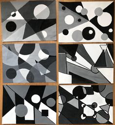Paintings in scale of grays, inspired by B&W photos Middle School Art Projects, Scale Art, Geometric Art, Value In Art, Composition Art, School Painting, Monochromatic Paintings