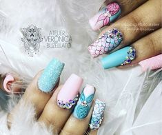 Unhas de sereia - Unhas decoradas de sereia Cute Nail Art, Cute Nails, Pretty Nails, Cool Nail Designs, Acrylic Nail Designs, Acrylic Nails, Hair And Nails, My Nails, American Nails