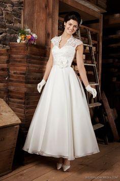 2014 V-Neck Cap Sleeve Flower Ankle Length Lace 1950s Wedding Dress Bridal Gown Size 6 8 10 12 14 16 18 20 22 24 26 28++ Custom US $169.00