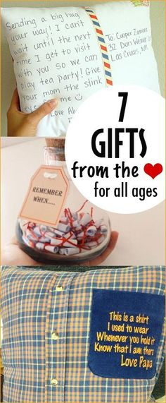 7 Gifts from the Heart.  Sentimental gifts for all ages.  Homemade Christmas gifts everyone will love.