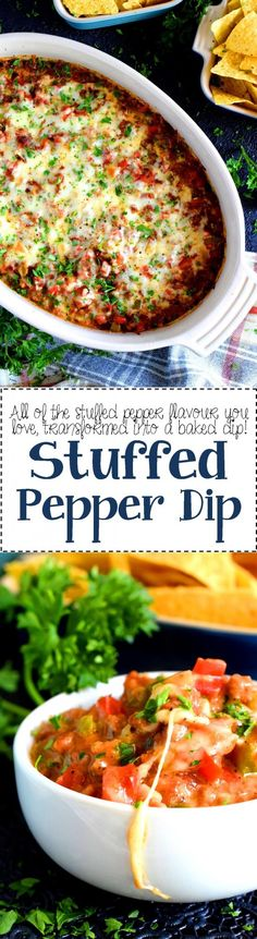 Stuffed Pepper Dip - The comforting and familiar flavours of stuffed peppers have been deconstructed in this Stuffed Pepper Dip. Hearty, cheesy, and beefy – a dip that eats like a meal! Potato Recipes, Crockpot Recipes, Soup Recipes, Chicken Recipes, Vegetarian Recipes, Healthy Recipes, Pasta Recipes, Yummy Recipes, Cooking Recipes