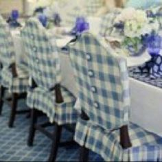 Buffalo Check Slipcovered Hepplewhite Chairs With Button Detailing