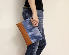 Blue Shibori Clutch Hand Dyed Bag Clutch Purse Boho by AikoThreads, $35.00