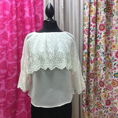 Embroidered Lace Cape Top