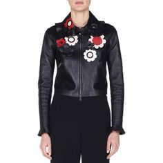 Fendi Floral-Embellished Leather Bomber Jacket (1.333.170 HUF) ❤ liked on Polyvore featuring outerwear, jackets, black, straight jacket, ruffle leather jacket, real leather jackets, floral jackets and embroidered leather jacket