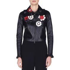 Fendi Floral-Embellished Leather Bomber Jacket (1.333.170 HUF) ❤ liked on Polyvore featuring outerwear, jackets, black, straight jacket, ruffle leather jacket, real leather jackets, floral jackets and embroidered leather jacket