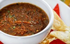 SALSA at 350*, roast: 1 jalapeño pepper 1 serrano pepper 1-2 habanero peppers 1 dried guajillo pepper 1 dried ancho pepper 2-3 dried japones peppers 2 cloves garlic 1 small onion, chopped, then blend with 2 cups peeled and seeded tomatoes 2 cups fire-roasted tomatoes 1/4 teaspoon salt 1/4 teaspoon white pepper 1/4 bunch cilantro, chopped