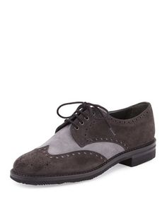 Two-Tone+Suede+Wing-Tip+Oxford+by+Gravati+at+Bergdorf+Goodman.
