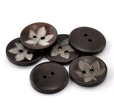 ZARABE 50PCs Dark Coffee Leaf Round Flower Pattern Wood Sewing Buttons 25mm(1') Dia. ** You can find out more details at the link of the image.