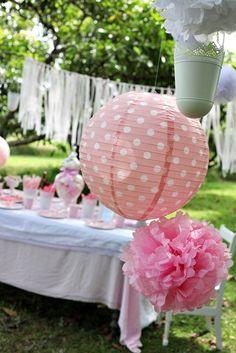 Wedding  paper lantern s 2 pink Polka Dot kids retro vintage party decorations