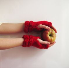 Fingerless gloves for winter red mittens for winter red mittensChristmas Gifts Ideas (20.00 USD) by Yellowcrochet