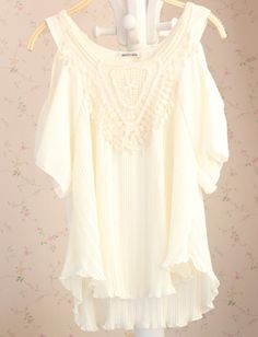 White Off The Shoulder Contrast Lace Chiffon Dress US$17.30