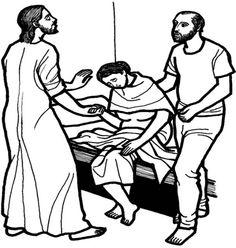 Matthew 8:14-17; Mark 1:29-31: Luke 4: 38-39: Jesus Healed Peter's Mother-in-Law;  Peter's Mother-in-Law Healed Coloring Page