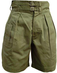 What Price Glory - UK 1941 Pattern Jungle Green Shorts Fashion Moda, Mens Fashion, Fashion Outfits, Fashion Pants, Battle Dress, Retro Mode, Green Shorts, Military Fashion, High Waisted Shorts