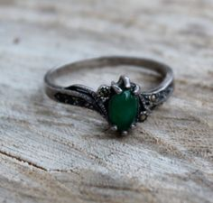 Vintage Emerald and Marcasite Silver Ring by Gener8tionsCre8tions, $45.00