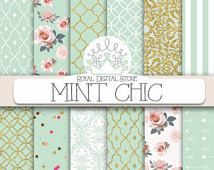 """Mint digital paper: """"MINT CHIC"""" with mint background, roses, damask, quatrefoil, mint and gold for scrapbooking, cards, invitations"""