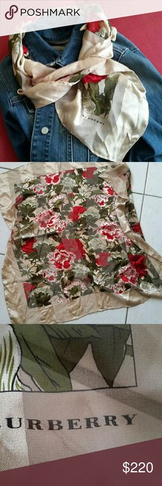 "BURBERRY SILK SCARF Lovely floral authentic Burberry silk scarf, red, white and green flowers w/beige border and background. Excellent condition but has lost it's tag. 35"" ? 35"". Burberry Accessories Scarves & Wraps"