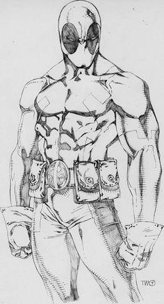 Deadpool by timothygreenII on DeviantArt Marvel Drawings, Cool Drawings, Drawing Sketches, Deadpool Drawings, Comic Book Drawing, Comic Books Art, Comic Art, Character Drawing, Character Design