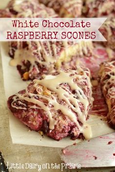 Absolutely melt in your mouth scones packed with white chocolate and raspberries! Little Dairy on the Prairie