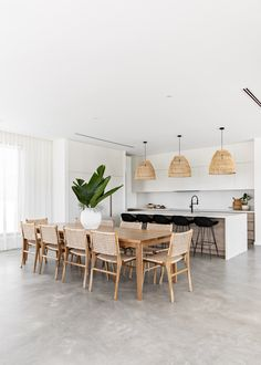 Lights Over Dining Table, Concrete Dining Table, Rattan Dining Chairs, Modern Dining Room Chairs, Dining Table Lighting, Dining Tables, Table And Chairs, Dining Rooms, Kitchen Dining