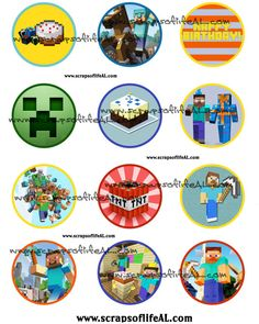 Instant Download MINECRAFT BIRTHDAY CUPCAKE By MomsFastFavors 1199