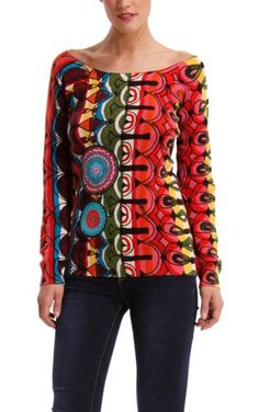 Desigual Women's Pull Sweater Sas Morado Colourful Outfits, Fabric Design, Topshop, Pullover, Clothes For Women, Sweaters, Shirts, Surface Design, Tunics