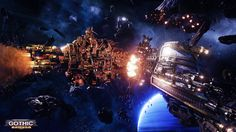 Battlefleet Gothic: Armada is the RTS videogame adaptation of Games Workshop's classic tabletop game, pitting the Chaos, Imperium, Eldar, and Orks against each other in visceral space-battles. Full Hd Wallpaper, Computer Wallpaper, Armada Game, Battlefleet Gothic Armada, Tau Empire, Space Battles, Game Workshop, Warhammer 40000, Cool Artwork