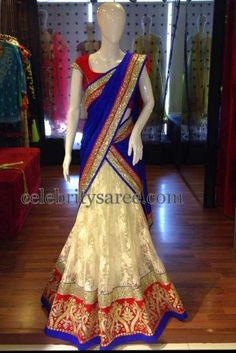 White Jute Net Half Saree