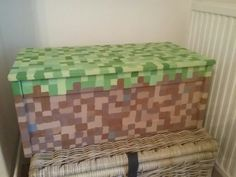 Ikea toy box painted with Minecraft block design