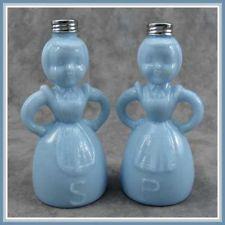 DELPHITE BLUE GLASS FIGURAL LADY SALT & PEPPER SHAKER SET
