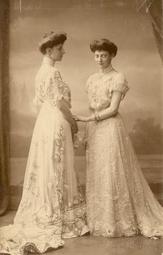Princess Ingeborg, Duchess of Vastergotland, with sister, Princess Thyra of Denmark. 1900s.