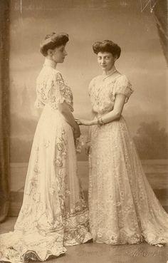Princess Ingeborg, Duchess of Vastergotland, with sister, Princess Thyra of Denmark. 1900s.