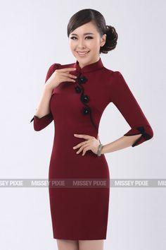 Red Auspicious Half-sleeves CheongSam - RM220