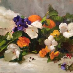 """Daily Paintworks - """"Pansy Parade"""" - Original Fine Art for Sale - © Krista Eaton"""