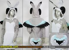 Here's a cute original character dress that someone commissioned from us based on their original design. Sheep like horns and bunny ears! Order your own custom hoodie or dress: http://www.lemonbrat.com/customs/