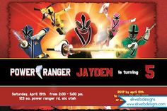 Power Rangers Invitation - Printable Power Rangers Birthday Party Invitation