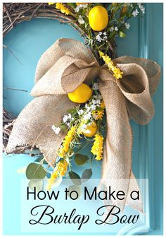 How to make a burlap bow for a wreath using just a few inexpensive supplies. Such a quick and easy craft. | chatfieldcourt.com