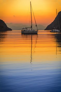 GREEEC CHANNEL | Pedi beach #sunrise, #Symi, #Greece http://www.greece-channel.com/