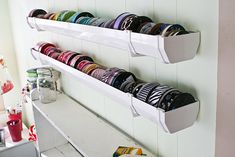 My solution for ribbon storage - guttering! #ribbon #crafting