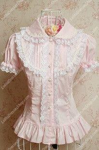 Small Fresh Pink Cotton Lapel Lace Trim Lolita Blouse