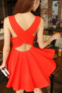 Little Red Dress with Cross-over Back