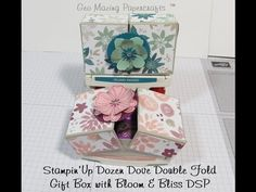 Stampin'Up Double Fold Dozen Dove Gift Box with Blooms & Bliss DSP - YouTube