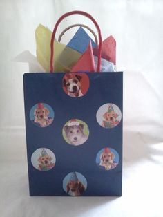 Handmade Multicolored Dog Gift Bag  #AnnettesRoyalGiftWrapping #Dogs #GiftBags #DogLovers #AnyOccasion #Christmas #RecycledBags