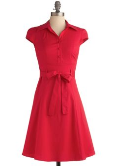 Soda Fountain Dress in Cherry - Solid, Bows, Buttons, Party, Casual, Vintage Inspired, 50s, A-line, Shirt Dress, Cap Sleeves, Spring, Summer, Red, Rockabilly, Pinup, Mid-length, Fit & Flare