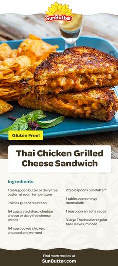 This Thai Chicken Grilled Cheese recipe takes all the best elements of a grilled cheese sandwich and a chicken satay and marries them. A really tasty, gooey, yummy marriage. Chicken Satay, Thai Chicken, How To Cook Chicken, Grilled Chicken, Tandoori Chicken, Sandwich Ingredients, Dairy Free Cheese, Grilled Cheese Recipes, Lunch Recipes