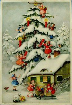 Cute Retro Christmas Decorations, Antique Christmas Ornaments, Vintage Christmas Images, Old Christmas, Old Fashioned Christmas, Christmas Scenes, Vintage Holiday, Christmas Pictures, Christmas Angels