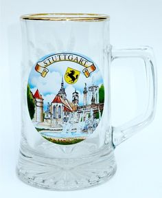 Glass Beer Stein Mug Stuttgart Germany Featuring The Fountain at Schlossplatz